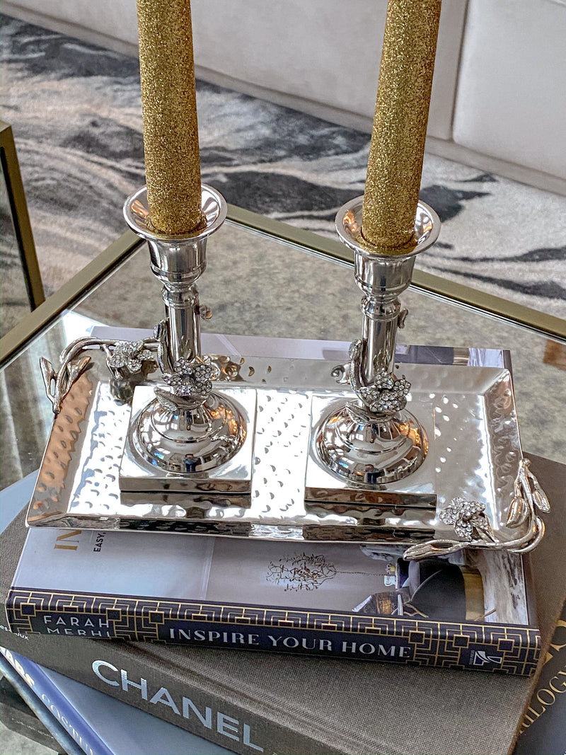 Jeweled Silver Candle Stick Set with Tray