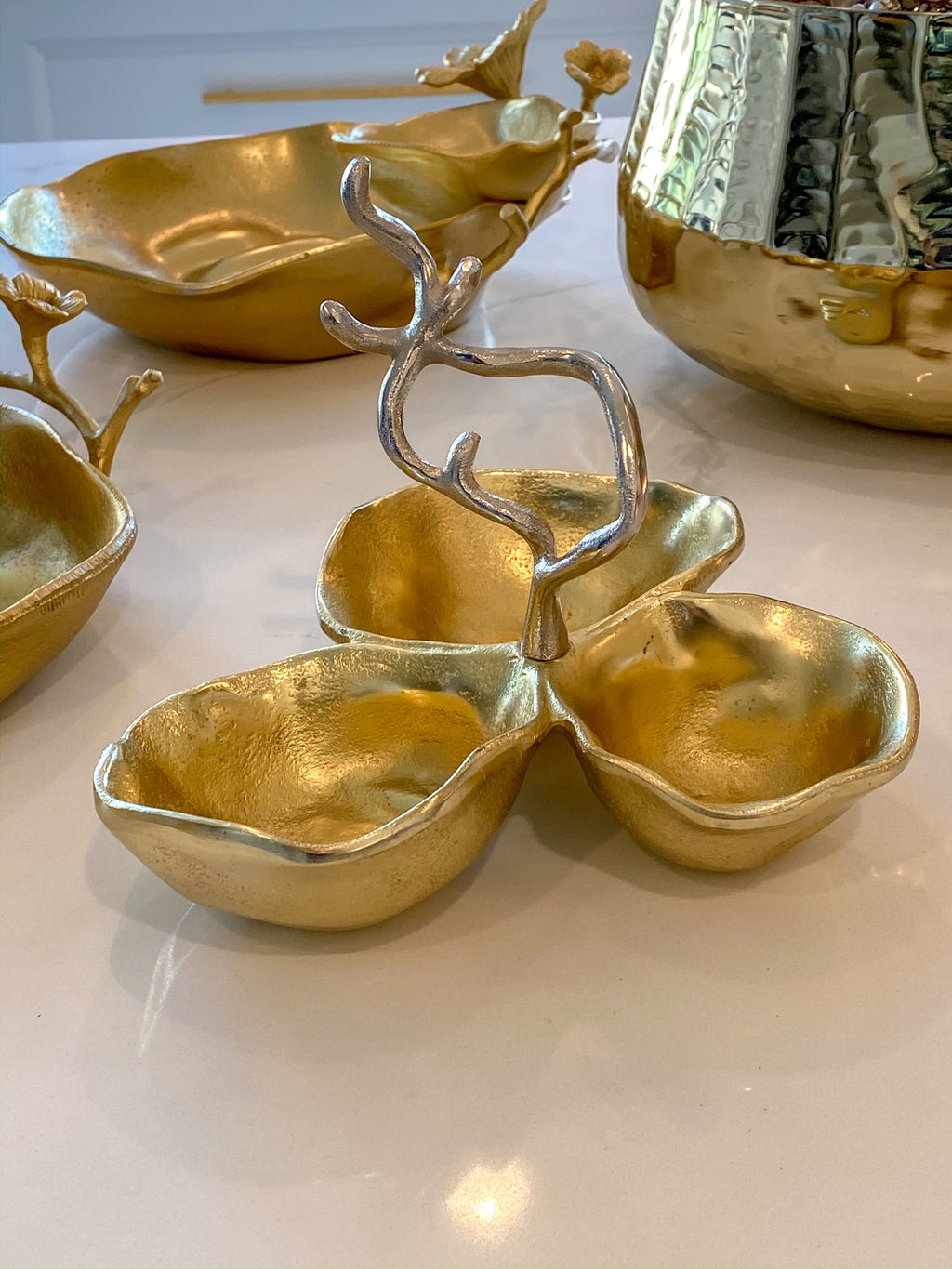 Gold Metal Snack Bowl with Silver Handle-Inspire Me! Home Decor