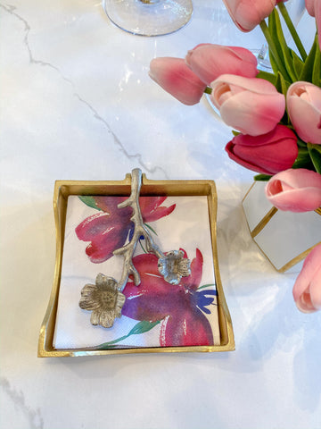 Gold and Silver Metal Floral Napkin Holder-Inspire Me! Home Decor