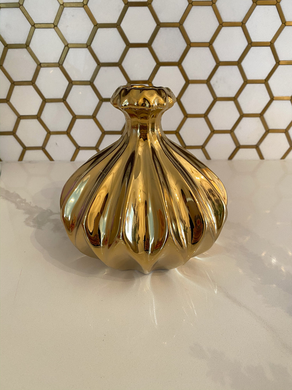 Petal Texture Gold Mini Vase-Inspire Me! Home Decor