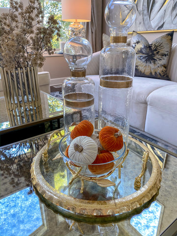 Clear Glass Bowl on Gold Bird Branch Stand-Inspire Me! Home Decor