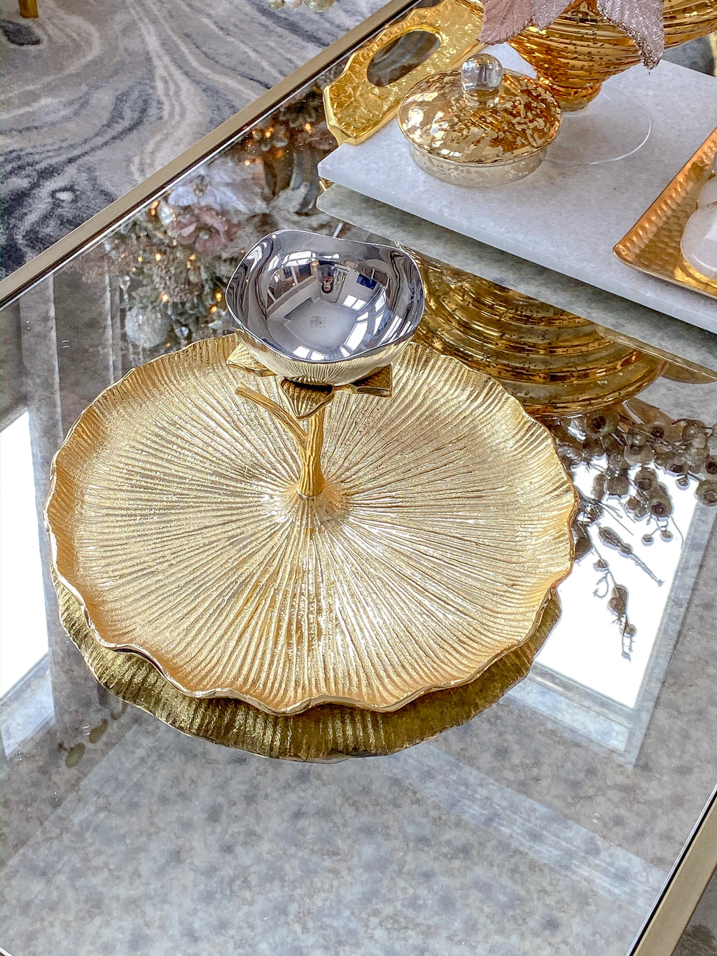 Large Gold Lotus Flower Platter-Inspire Me! Home Decor