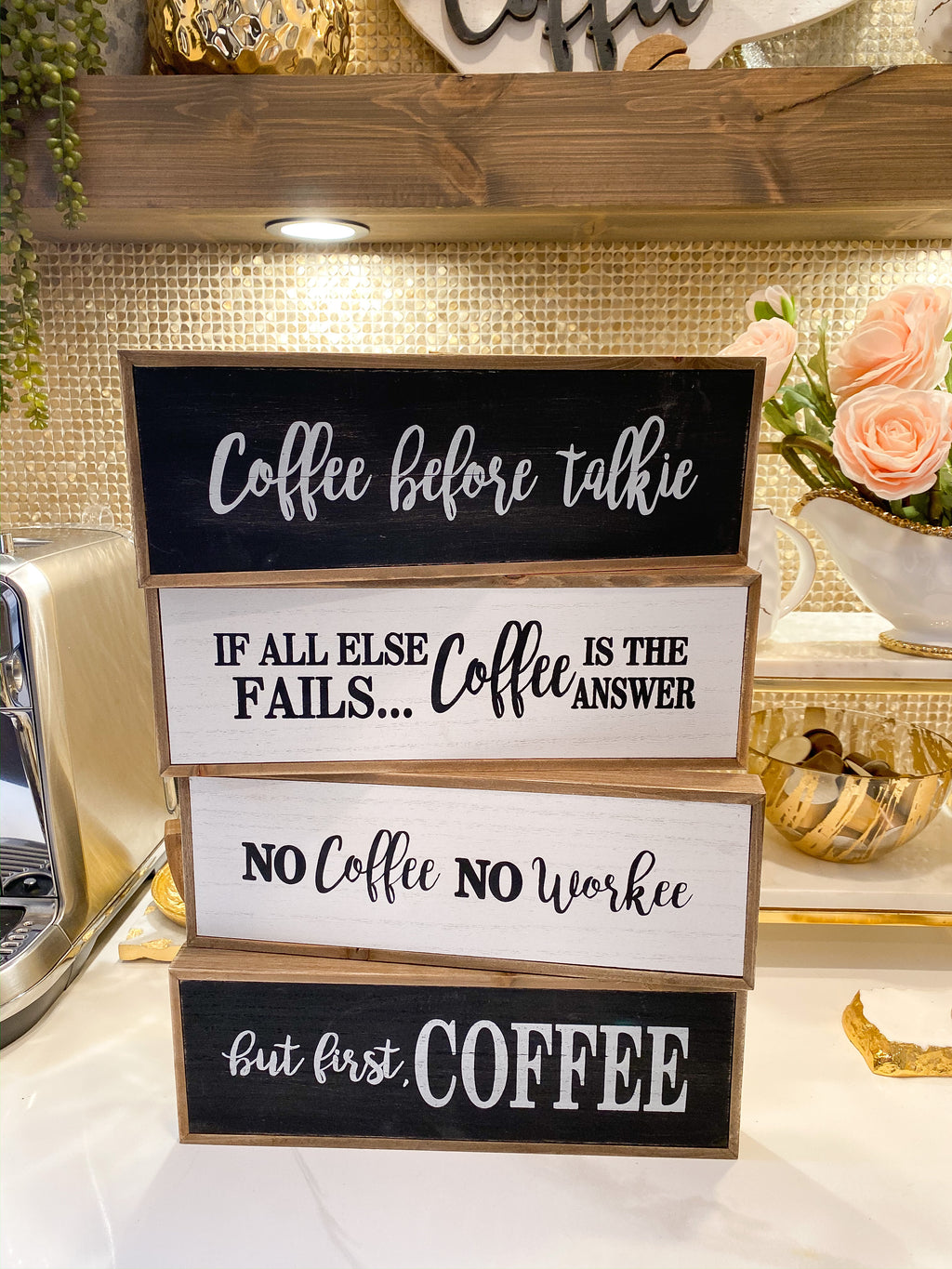Black and White Wooden Coffee Signs-Inspire Me! Home Decor