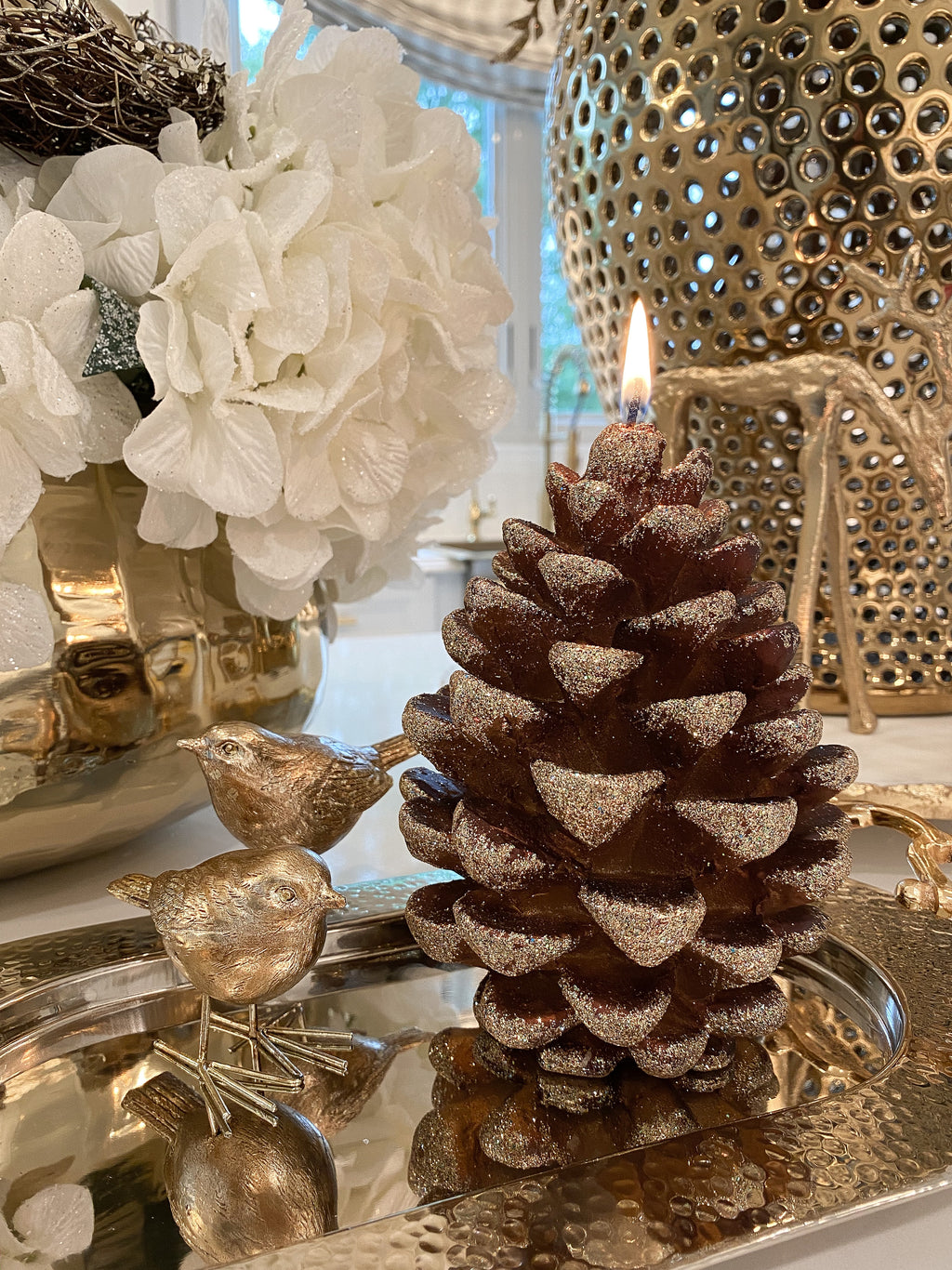 Large Glitter Pinecone Candle-Inspire Me! Home Decor