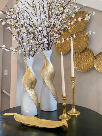 Gold and White Twisted Vase (2 sizes)-Inspire Me! Home Decor