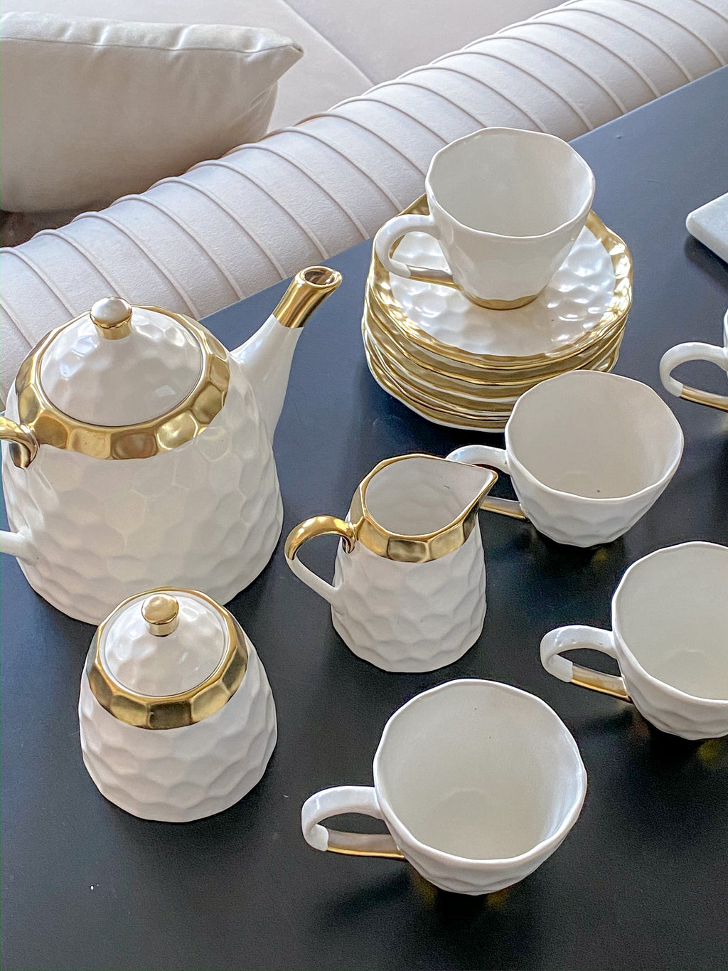 Ceramic White and Gold Tea Set