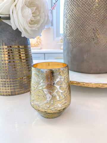Metallic Gold and Silver Paloma Flower Scented Candle-Inspire Me! Home Decor