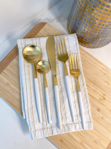 White and Gold Flatware Set-Inspire Me! Home Decor