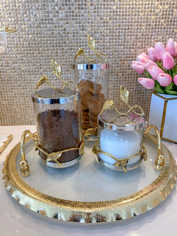 Hammered Glass Canister w/ Gold Leaf Lid (3 Sizes)-Inspire Me! Home Decor