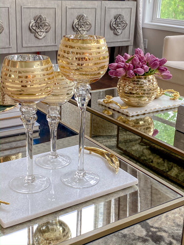 Gold Detailed Goblet Set of 3-Inspire Me! Home Decor