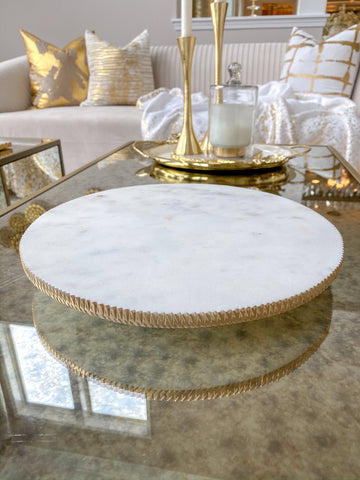 White Marble Round Lazy Susan w/ Gold Textured Edge-Inspire Me! Home Decor