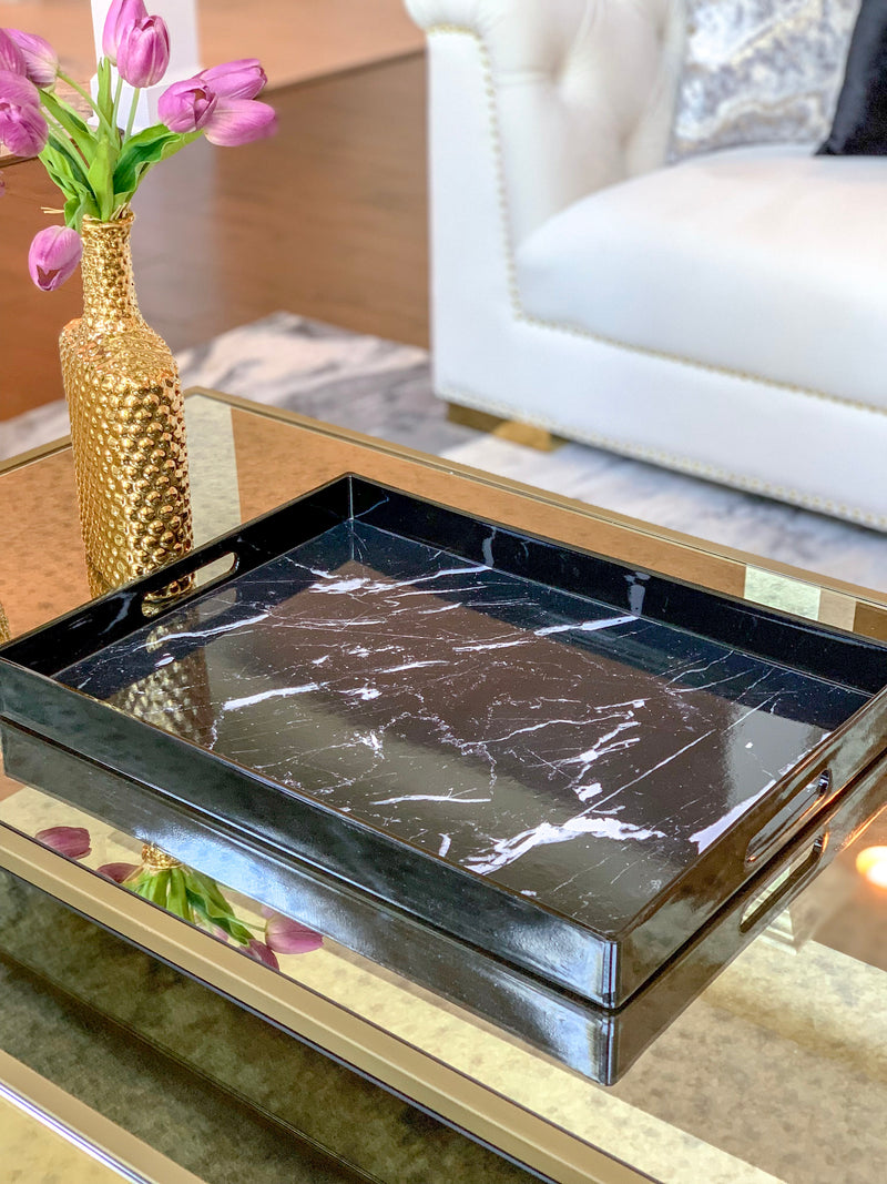 Black Rectangle Tray With White Marble Pattern - (2 Sizes)
