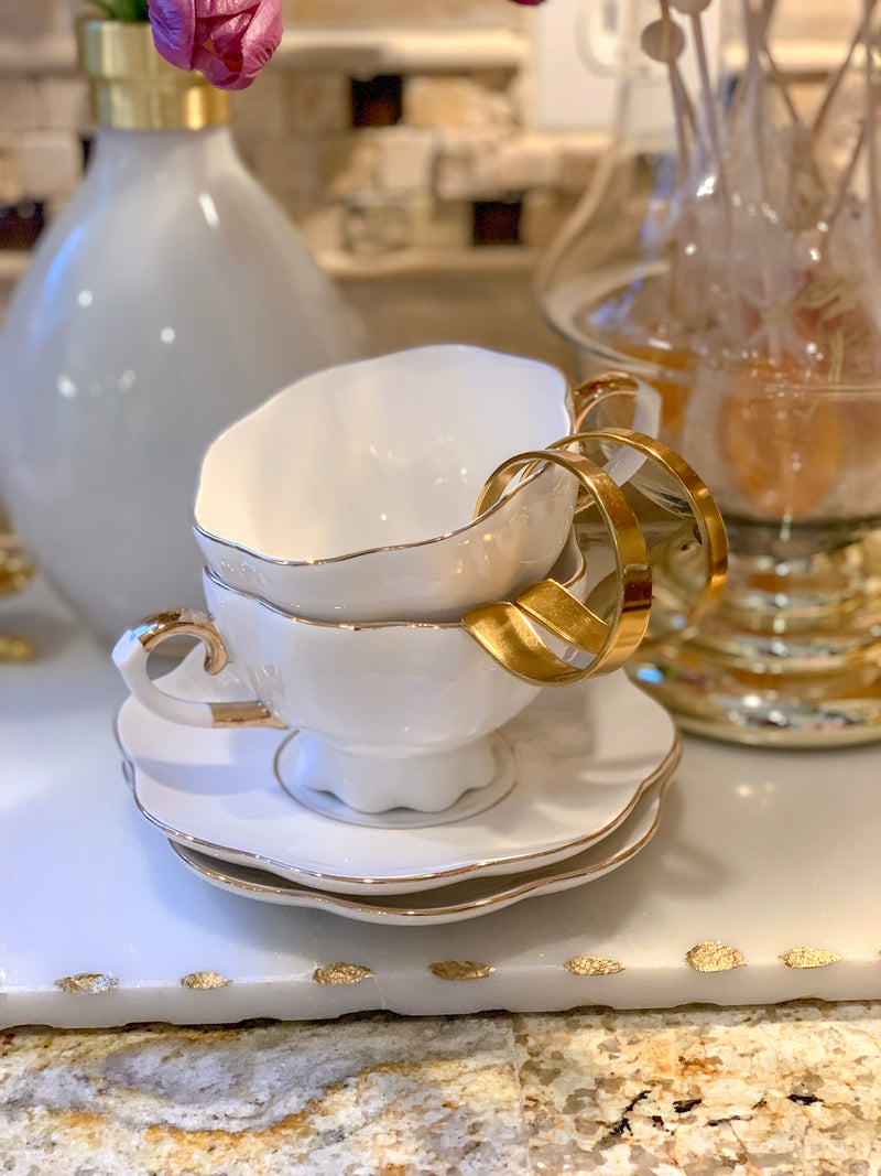 White and Gold Scallop Coffee Cup with Saucer - (Set of 2)
