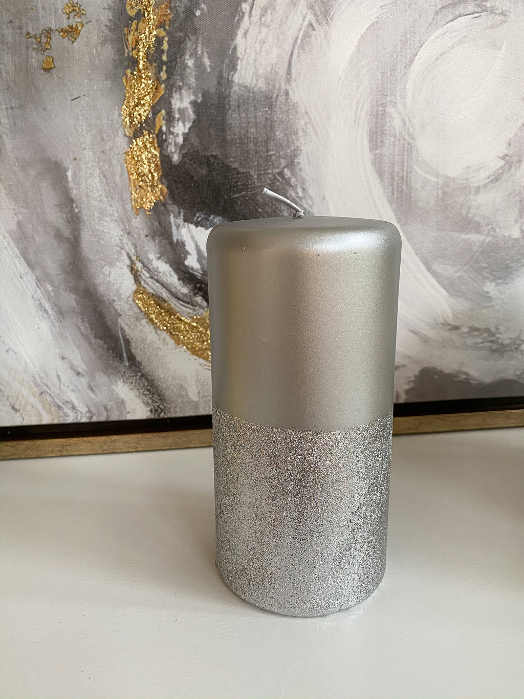 Silver Pillar Candle with Silver Glitter Band-Inspire Me! Home Decor