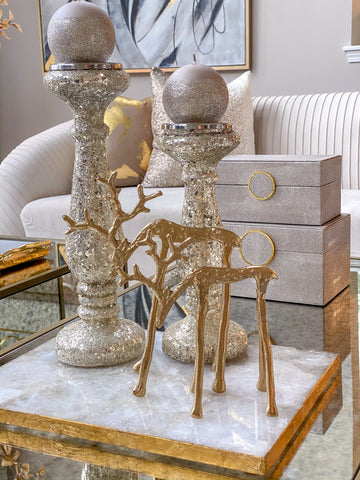 Gold Metal Reindeer (2 Sizes)-Inspire Me! Home Decor
