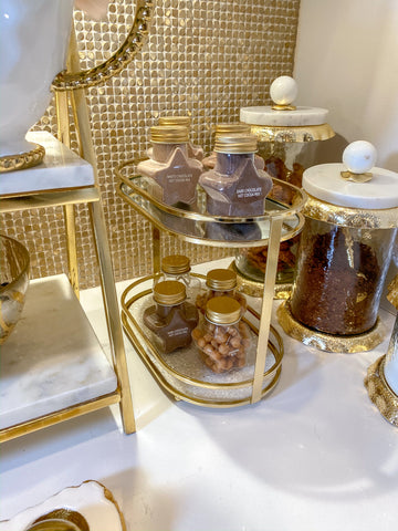 Two Tiered Gold Glitter Tray-Inspire Me! Home Decor