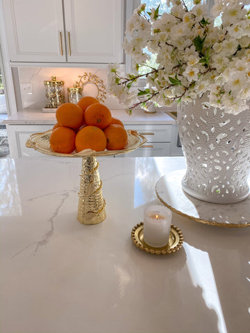 Gold Detailed Pedestal Cake Stand-Inspire Me! Home Decor