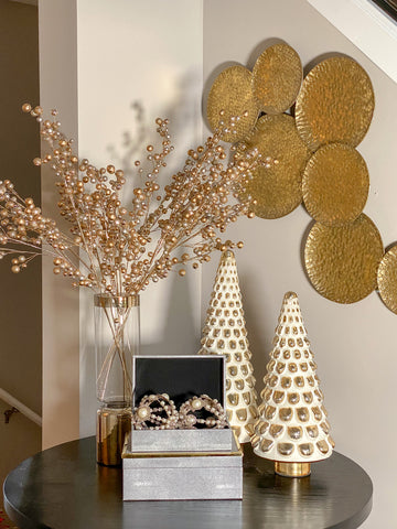 Ceramic Gold and White Pine Tree (2 Sizes)-Inspire Me! Home Decor