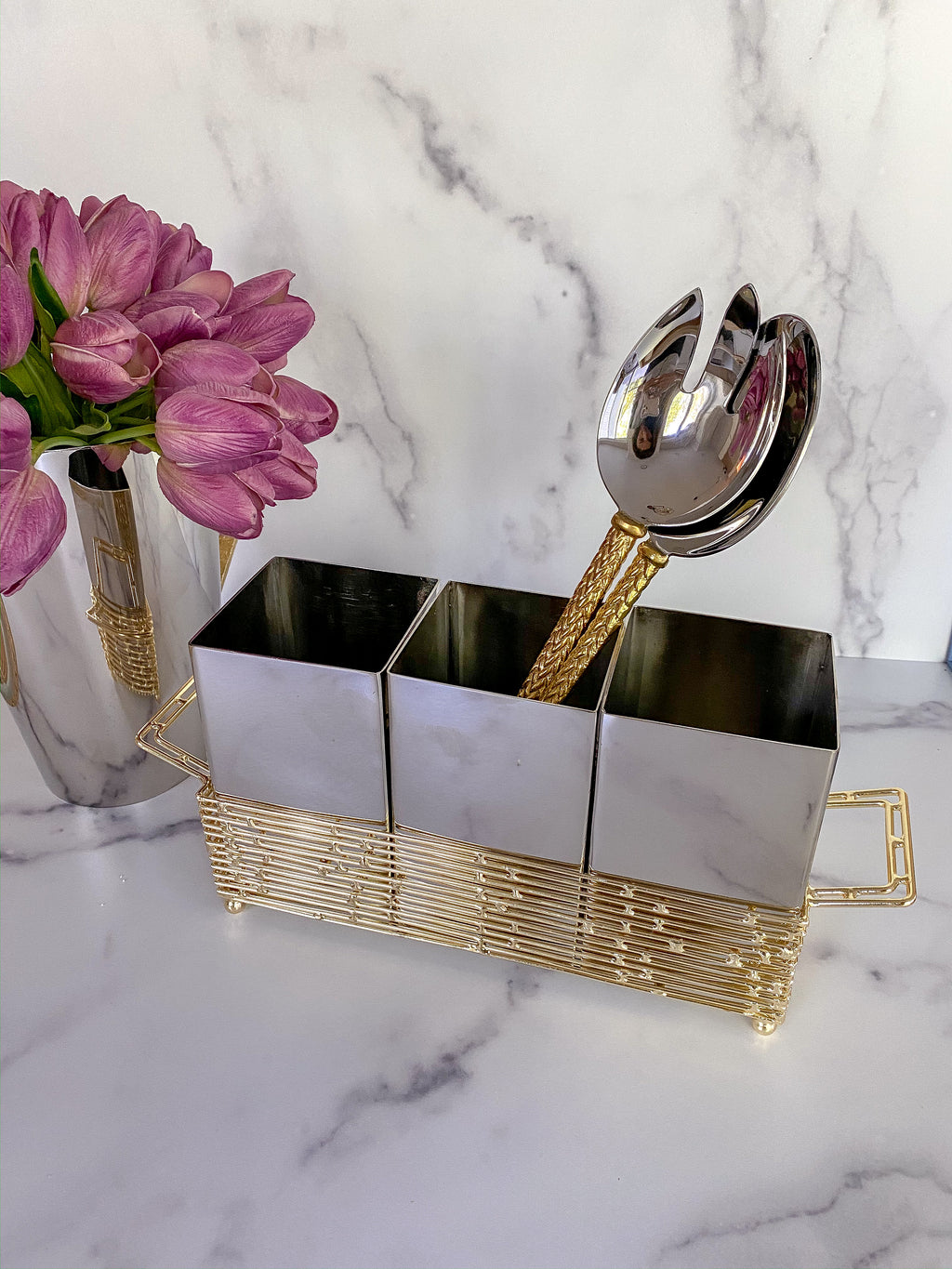 Silver and Gold Metal 3 Section Silverware Holder-Inspire Me! Home Decor