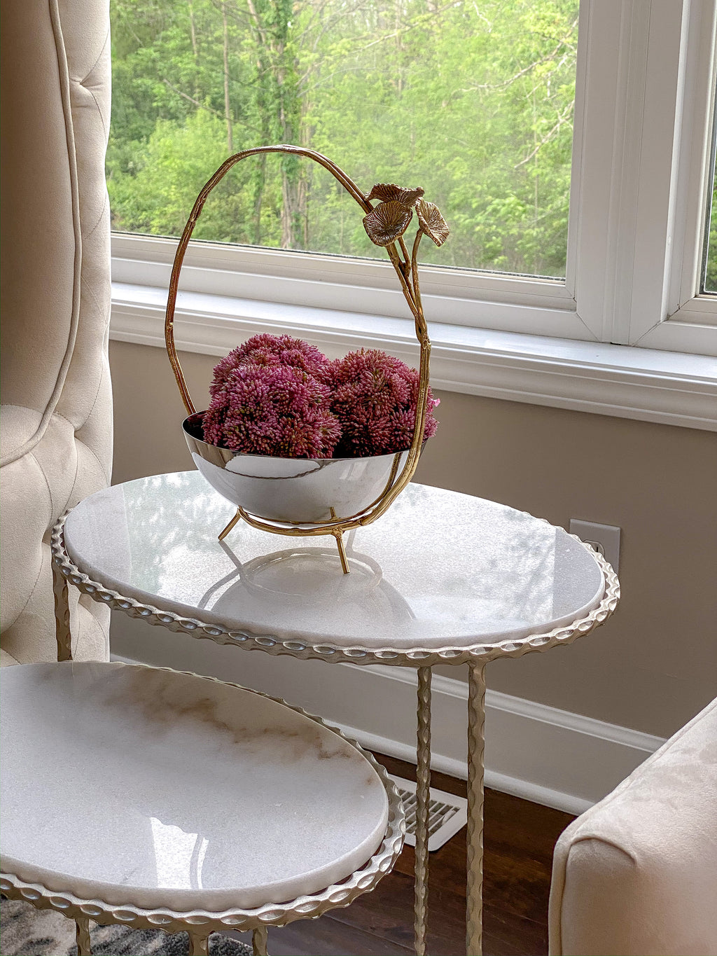 Silver bowl with Gold Floral Frame