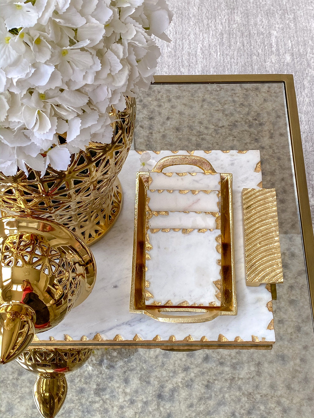 Marble Coasters w/ Gold Trim and Tray-Inspire Me! Home Decor