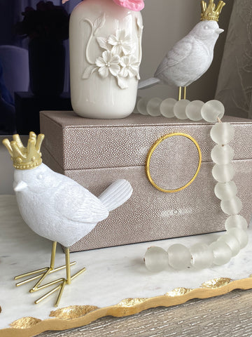 White Birds w/ Gold Crowns, Set of 2-Inspire Me! Home Decor