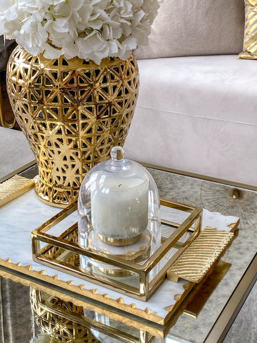 Gold Mirrored Base Napkin Holder-Inspire Me! Home Decor