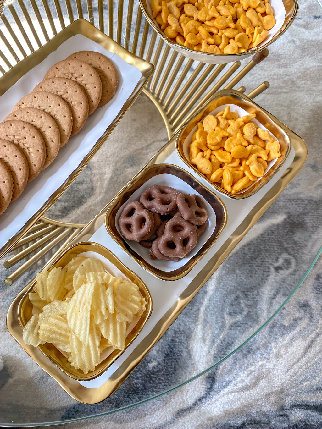3 Square Snack Bowls W/Tray Set