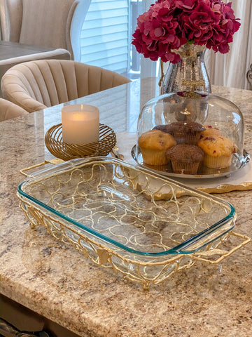 Rectangular Pyrex with Gold Branch Detailed Holder-Inspire Me! Home Decor
