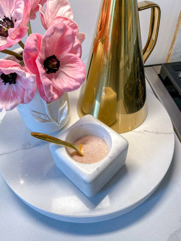 Marble Spice Bowl w/ Gold Spoon-Inspire Me! Home Decor