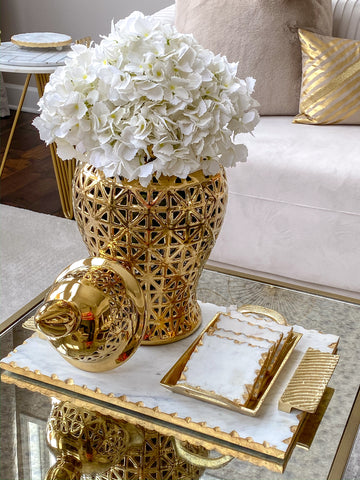 Marble Tray w/ Gold Edge and Textured Handles-Inspire Me! Home Decor