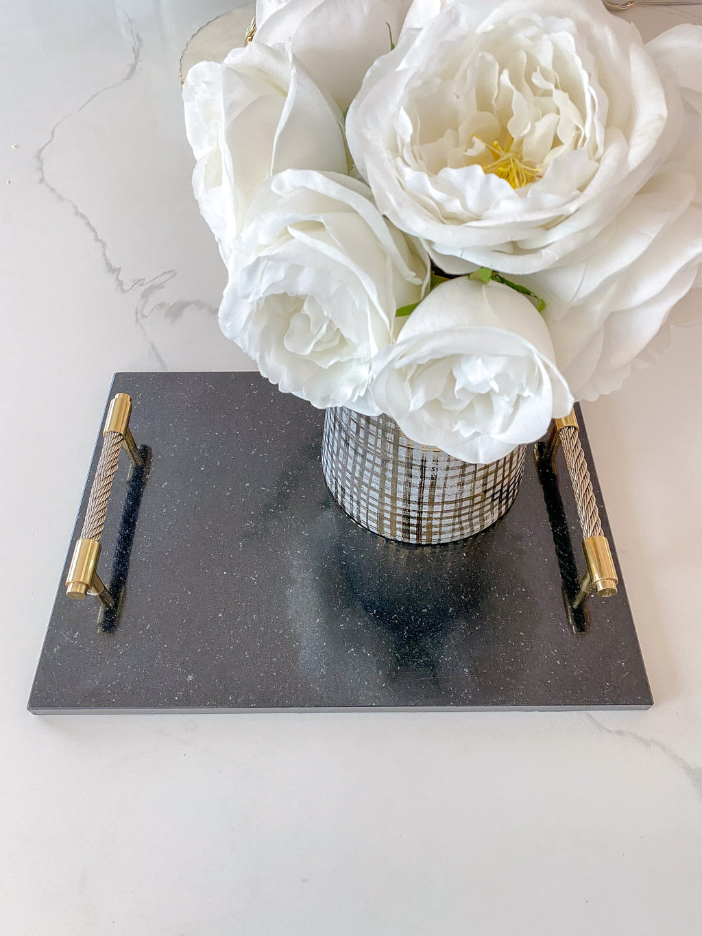 Black Marble Tray w/ Coil Handles and Knife-Inspire Me! Home Decor