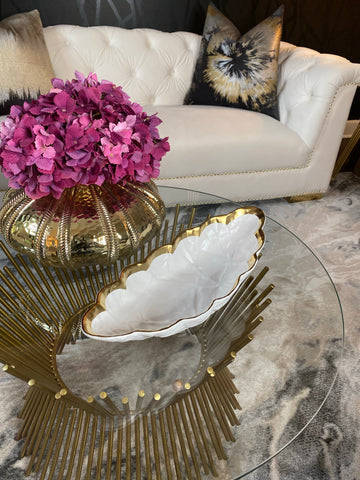 Crumpled Gold and White Porcelain Bowl-Inspire Me! Home Decor