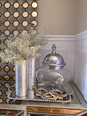 Oversized Silver Hammered Lid Apothecary Jar-Inspire Me! Home Decor