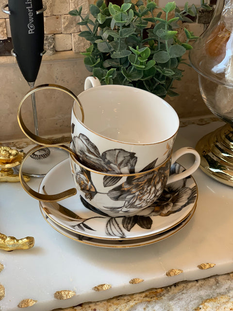 Black & Gold Floral Coffee Mug and Saucer