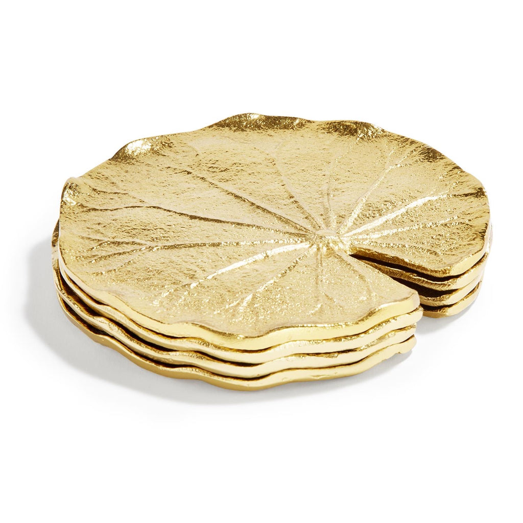 Golden Lily Leaf Coasters, Set of 4-Inspire Me! Home Decor