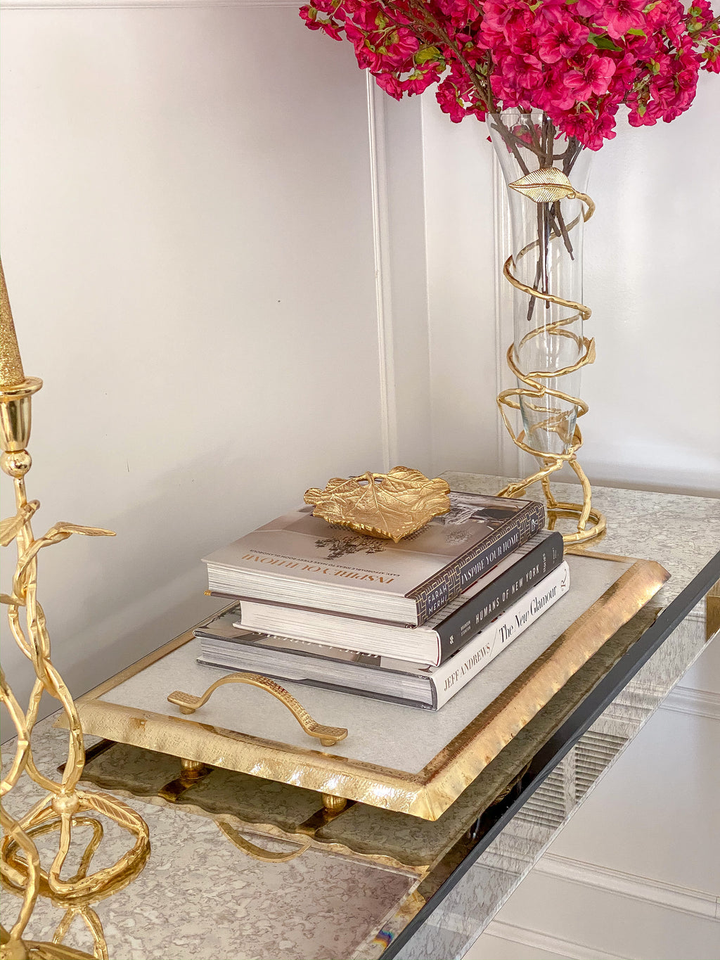 Marble Tray with Gold Handles and Border
