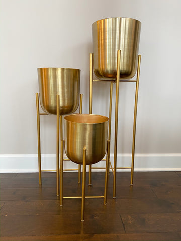 Set of 3 Gold Metal Standing Planters-Inspire Me! Home Decor