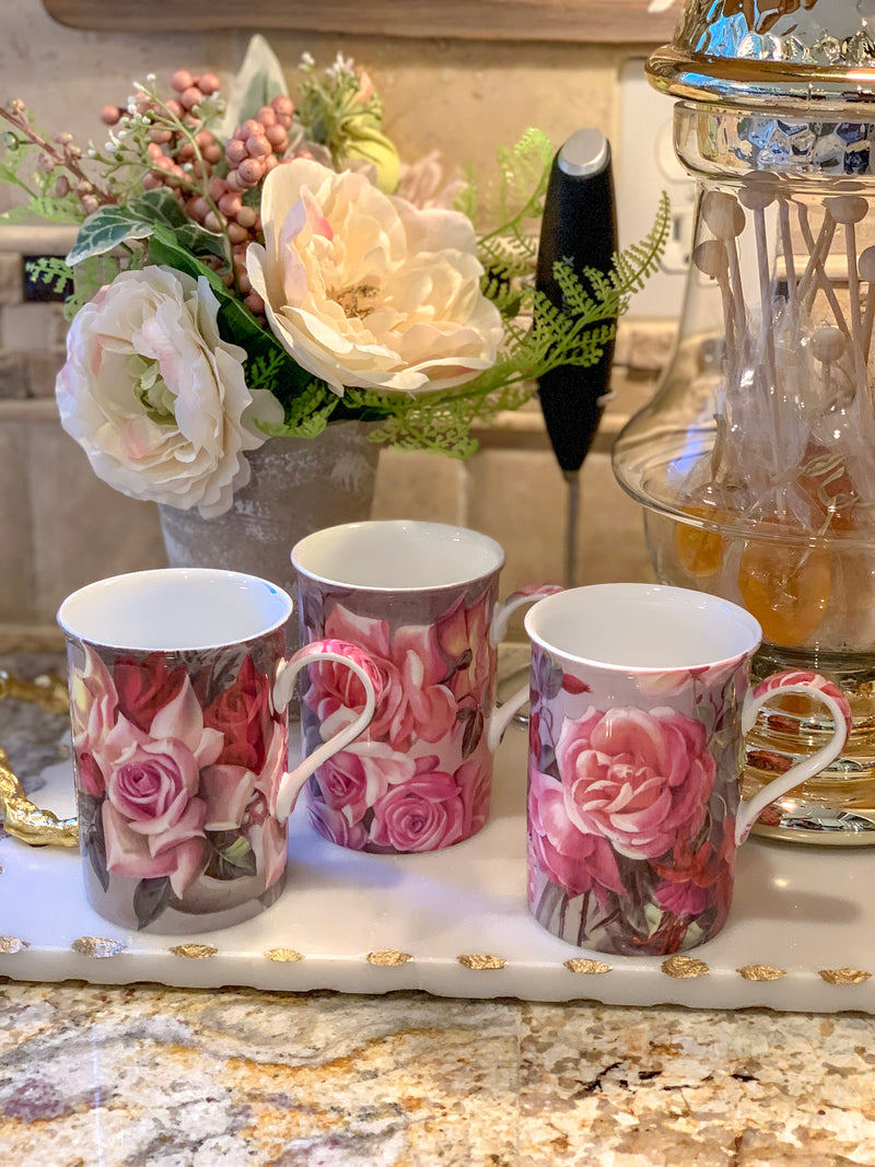Set of Two Pink Floral Coffee Mugs