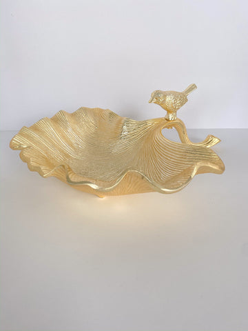 Large Gold Leaf Bowl w/ Bird-Inspire Me! Home Decor