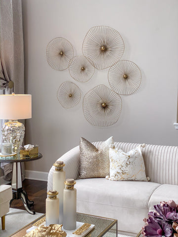 Gold Asymmetrical Circles Wall Art (Set of 3 - 3 different sizes)-Inspire Me! Home Decor