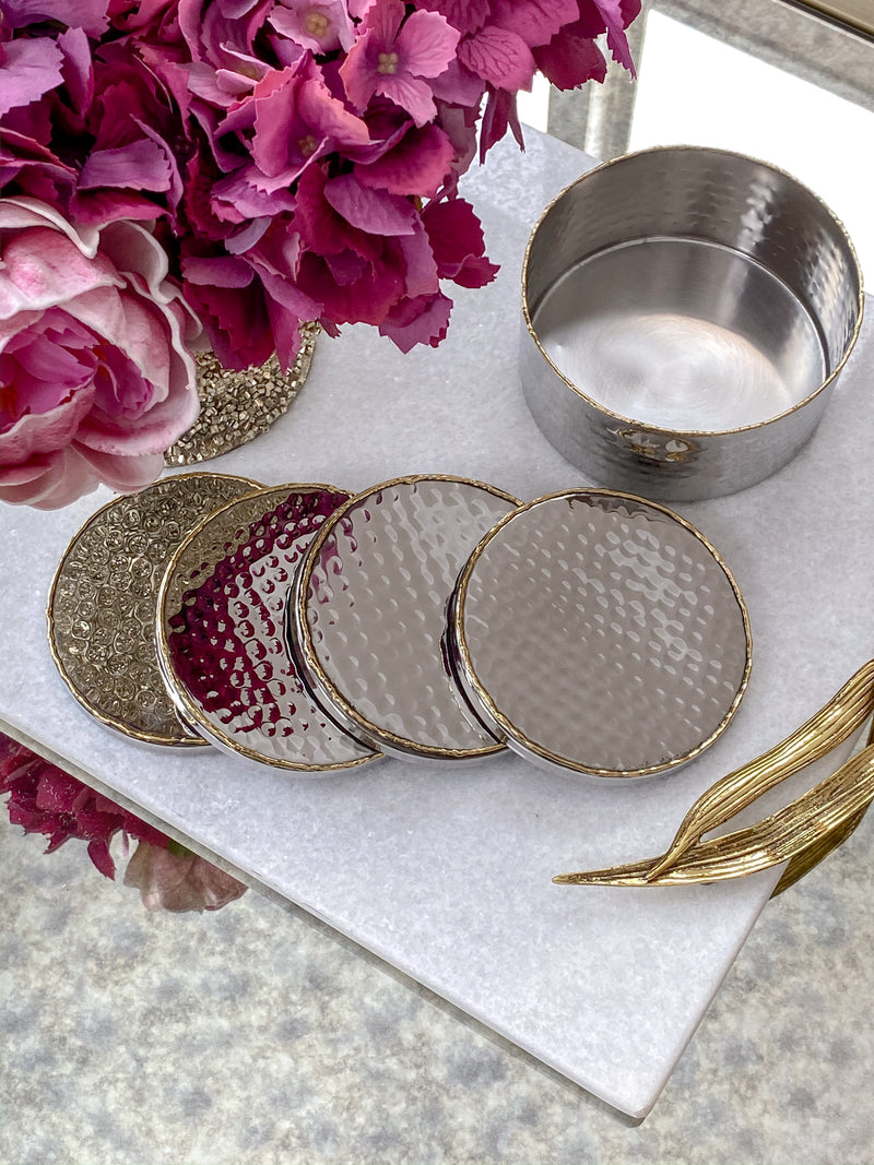 Hammered Silver Coaster Set with Gold Detailing