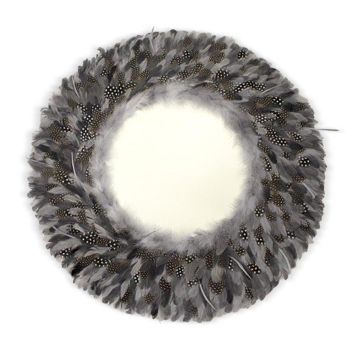 Guinea Fowl Feather Mirror, Mirror - Asili Designs