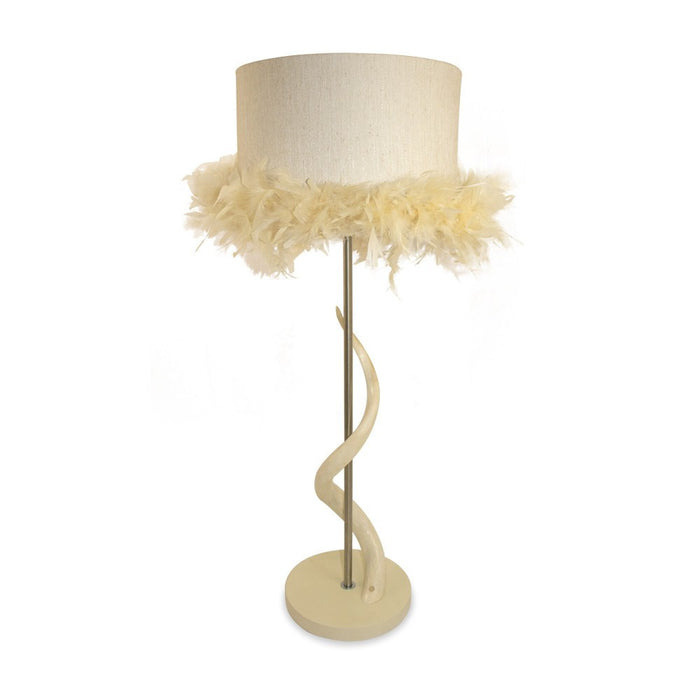 Kudu Bone Lamp with Feather Boa Lamp Shade, Lighting - Asili Designs