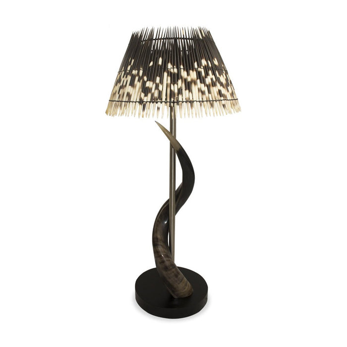 Kudu Horn Lamp with Porcupine Quill Lamp Shade, Lighting - Asili Designs