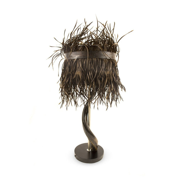 Kudu Horn Lamp with Split Goose Feather Shade (Brown), Lighting - Asili Designs