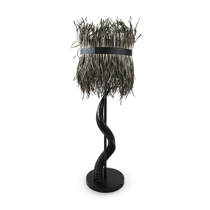 Kudu Horn Lamp with Split Goose Feather Shade (Black/Grey), Lighting - Asili Designs