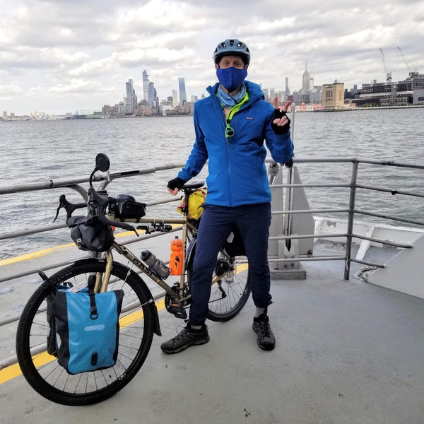 Bill Flagg Crossing the ferry fro Manhattan into Hoboken NJ, wearing Coalatrees trailhead pants