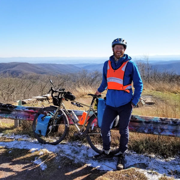 Bill Flagg and his bike at the Reddish knob lookout point in Virginia
