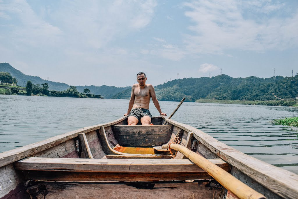 Picture of a person sitting inside the boat